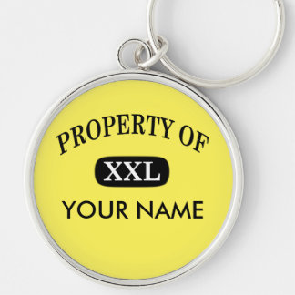 Property of XXL Your Name Silver-Colored Round Keychain