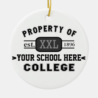 Property of Your School or College Personalized Ceramic Ornament