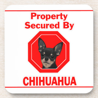 Property Secured by Chihuahua Beverage Coaster