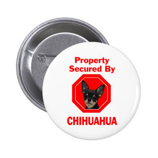 Property Secured by Chihuahua Pinback Button