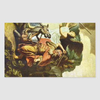 Prophet Balaam and the donkey by Rembrandt Rectangular Sticker