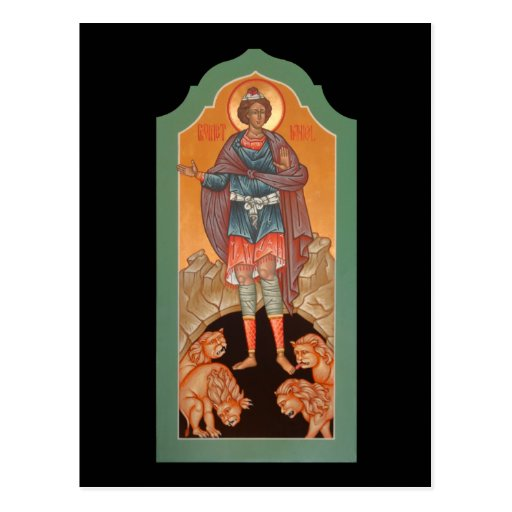 Prophet Daniel in the Lions Den Prayer Card Postcard
