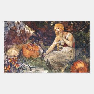 Prophetess by Alfons Mucha 1896 Rectangular Sticker