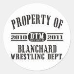 Propiedad de Blanchard que lucha Pegatina Redonda