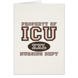 Propiedad de ICU que cuida la tarjeta de felicitac