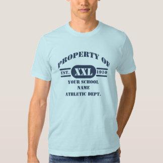 Propiedad de la camiseta atlética del departamento playera
