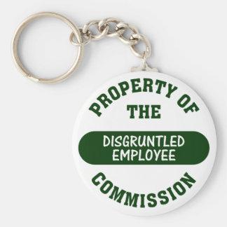 Propiedad de la comisión contrariedad del empleado llavero redondo tipo pin
