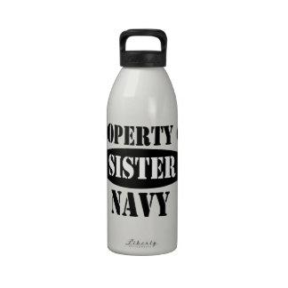 Propiedad de la hermana de la marina de guerra botella de agua