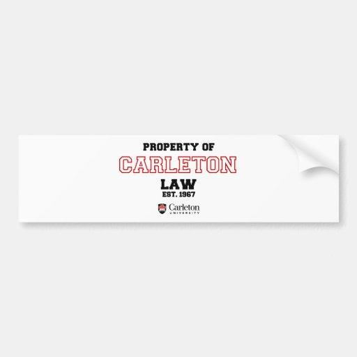 Propiedad de la ley de Carleton Etiqueta De Parachoque