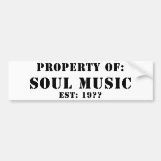 Propiedad de la música del alma pegatina de parachoque