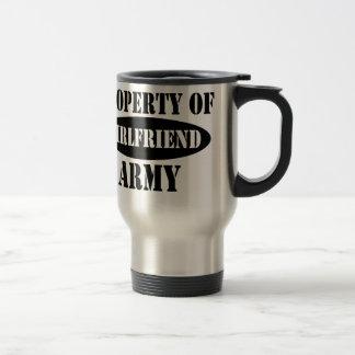 Propiedad de la novia del ejército taza de viaje de acero inoxidable