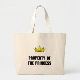 Propiedad de la princesa bolsa tela grande