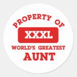 Propiedad de la tía más grande del mundo pegatina redonda