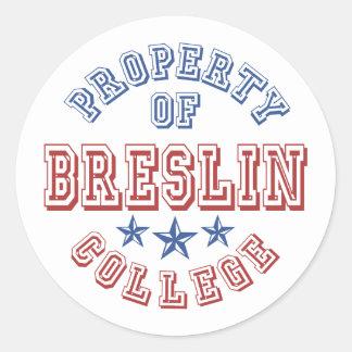 Propiedad de la universidad de Breslin Pegatina Redonda