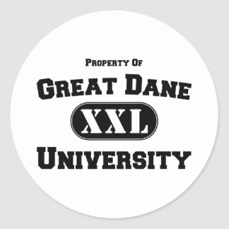 Propiedad de la universidad de great dane pegatina redonda