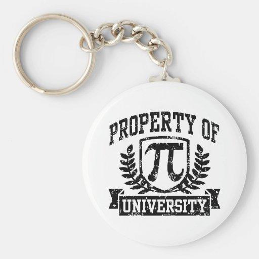 Propiedad de la universidad del pi llavero personalizado