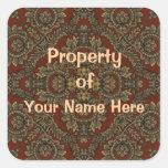 Propiedad de los pegatinas de la tapicería (person calcomania cuadrada personalizada