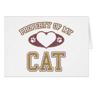 Propiedad de mi gato colegial tarjeta de felicitación
