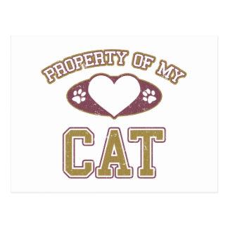 Propiedad de mi gato colegial tarjetas postales