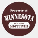 ¡Propiedad de Minnesota - cualquier color del Pegatina Redonda