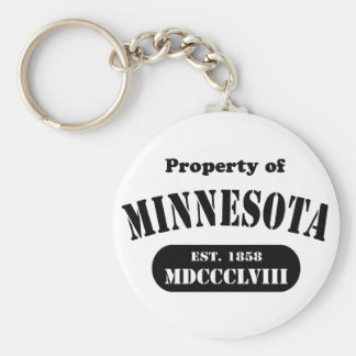 Propiedad de Minnesota - texto negro Llavero Redondo Tipo Pin
