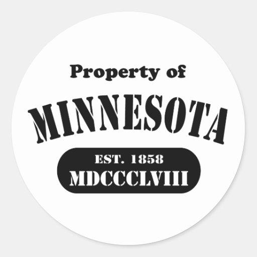 Propiedad de Minnesota - texto negro Pegatina Redonda