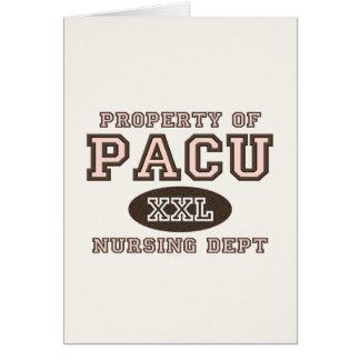 Propiedad de PACU que cuida la tarjeta de felicita