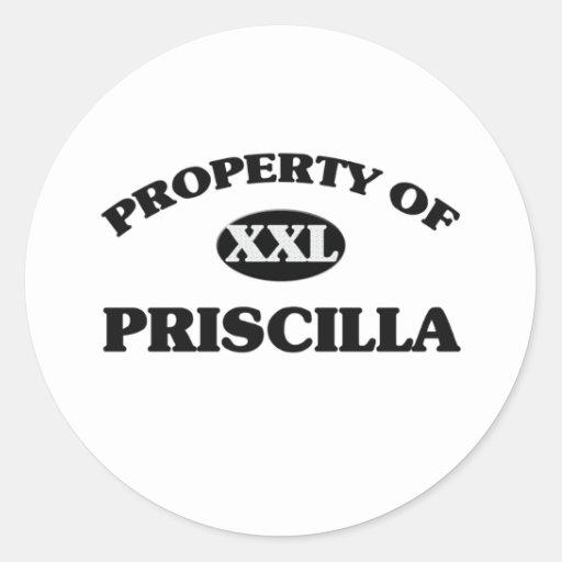 Propiedad de PRISCILLA Etiqueta Redonda