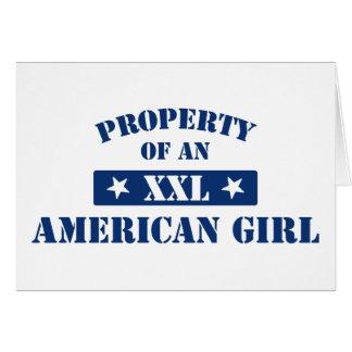 Propiedad de un chica americano tarjeta de felicitación