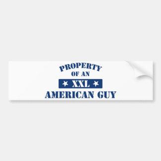 Propiedad de un individuo americano etiqueta de parachoque