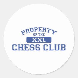 Propiedad del club de ajedrez XXL Pegatina Redonda