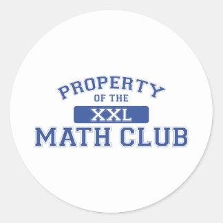 Propiedad del club XXL de la matemáticas Pegatina Redonda