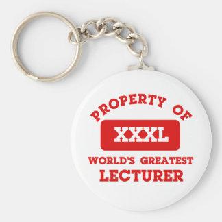 Propiedad del conferenciante más grande del mundo llavero redondo tipo pin