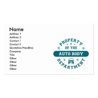 Propiedad del departamento auto del cuerpo tarjetas de visita