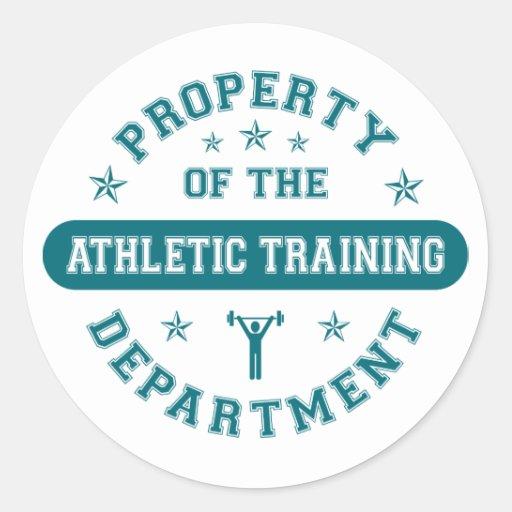Propiedad del departamento de entrenamiento pegatinas redondas