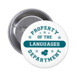Propiedad del departamento de idiomas pin redondo 5 cm