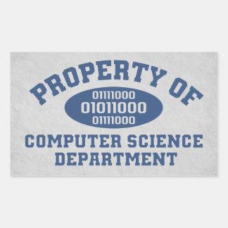 Propiedad del departamento de informática pegatina rectangular