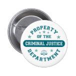 Propiedad del departamento de justicia penal pins