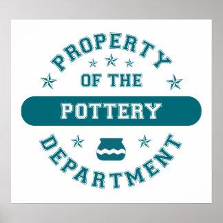 Propiedad del departamento de la cerámica posters