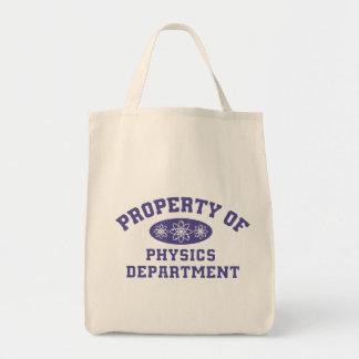 Propiedad del departamento de la física bolsas lienzo