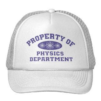 Propiedad del departamento de la física gorras