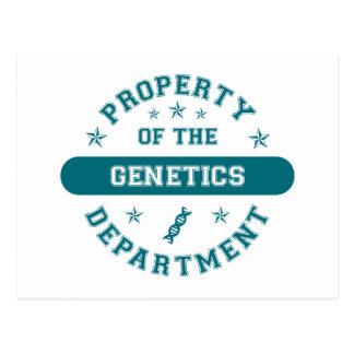 Propiedad del departamento de la genética postales