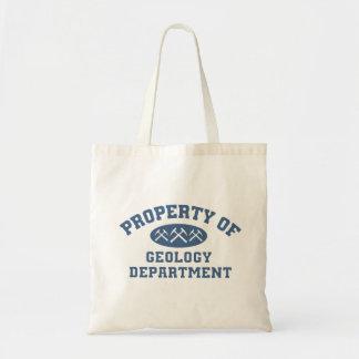 Propiedad del departamento de la geología (azul) bolsa tela barata
