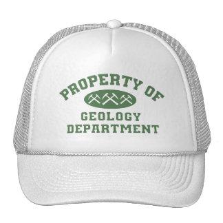 Propiedad del departamento de la geología gorro de camionero