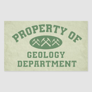 Propiedad del departamento de la geología pegatina rectangular