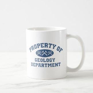 Propiedad del departamento de la geología taza básica blanca