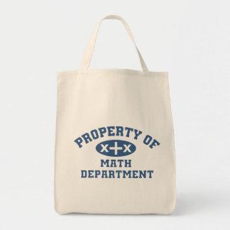 Propiedad del departamento de la matemáticas bolsas lienzo