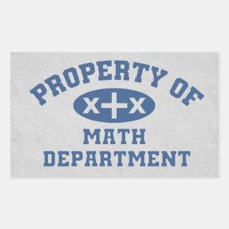 Propiedad del departamento de la matemáticas pegatina rectangular