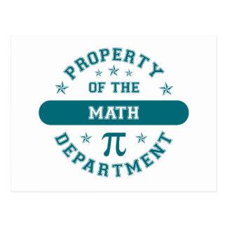 Propiedad del departamento de la matemáticas tarjeta postal