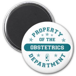 Propiedad del departamento de la obstetricia imán redondo 5 cm